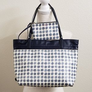 COACH - Navy Blue Polka Dot Coated Canvas Tote Set